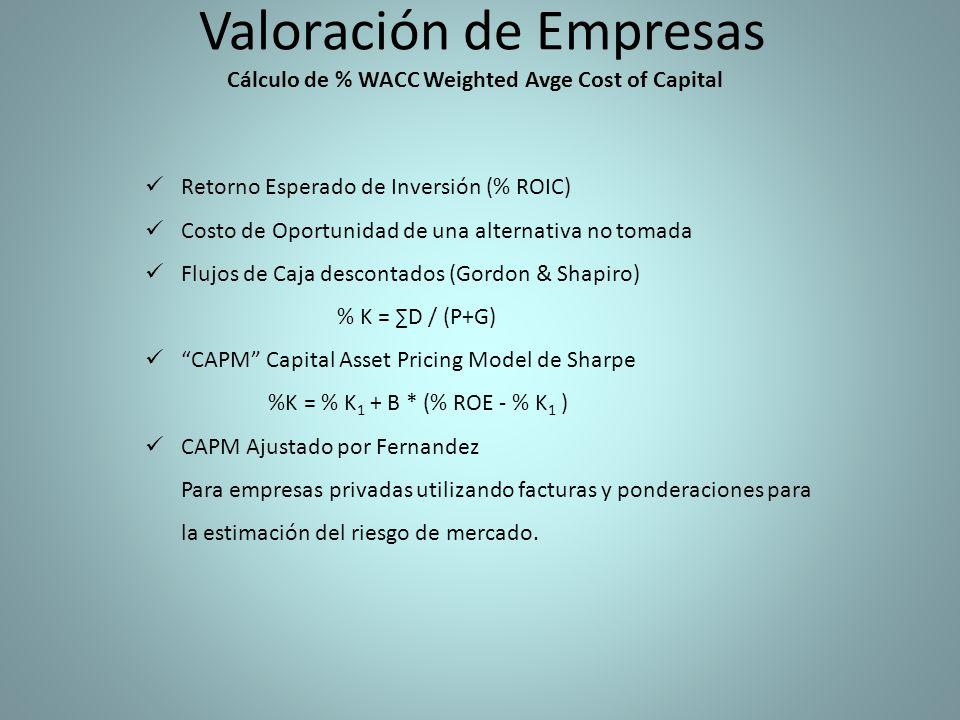 Valoración de Empresas Cálculo de % WACC Weighted Avge Cost of Capital Retorno Esperado de Inversión (% ROIC) Costo de Oportunidad de una alternativa no tomada Flujos de Caja descontados (Gordon & Shapiro) % K = D / (P+G) CAPM Capital Asset Pricing Model de Sharpe %K = % K 1 + B * (% ROE - % K 1 ) CAPM Ajustado por Fernandez Para empresas privadas utilizando facturas y ponderaciones para la estimación del riesgo de mercado.