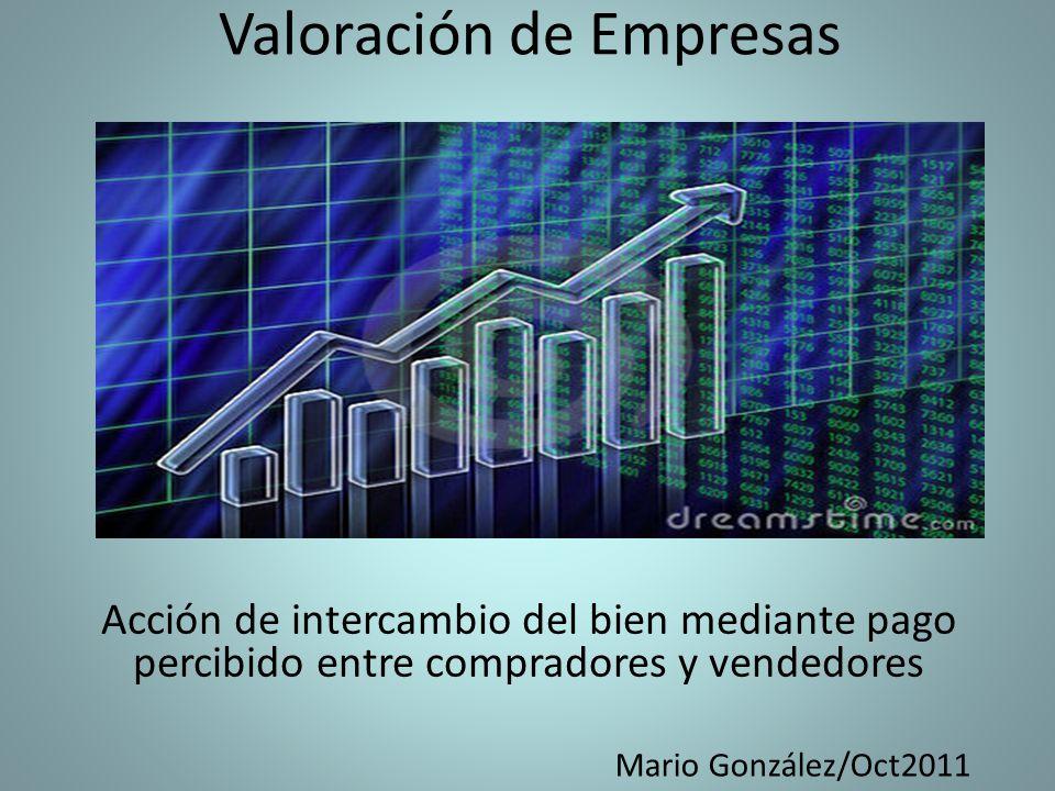 Valoración de Empresas Acción de intercambio del bien mediante pago percibido entre compradores y vendedores Mario González/Oct2011
