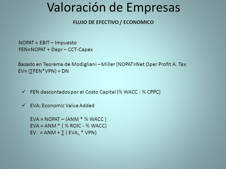 Valoración de Empresas FLUJO DE EFECTIVO / ECONOMICO NOPAT = EBIT – Impuesto FEN=NOPAT + Depr – CCT-Capex Basado en Teorema de Modigliani – Miller (NO
