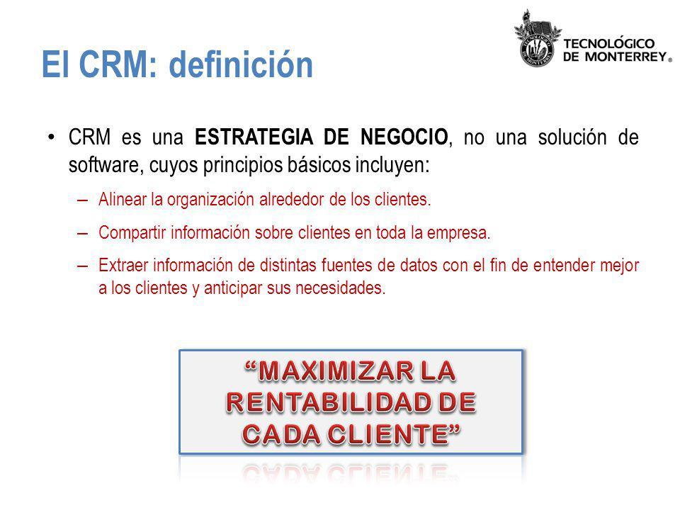 El CRM: definición CRM es una ESTRATEGIA DE NEGOCIO, no una solución de software, cuyos principios básicos incluyen: – Alinear la organización alreded