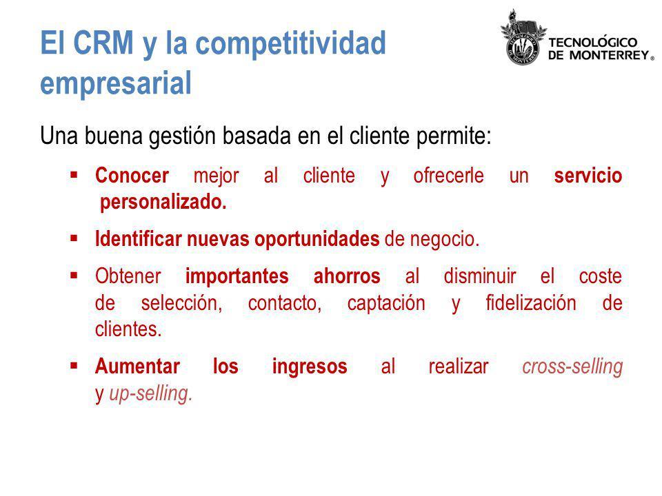El CRM y la competitividad empresarial Una buena gestión basada en el cliente permite: Conocer mejor al cliente y ofrecerle un servicio personalizado.