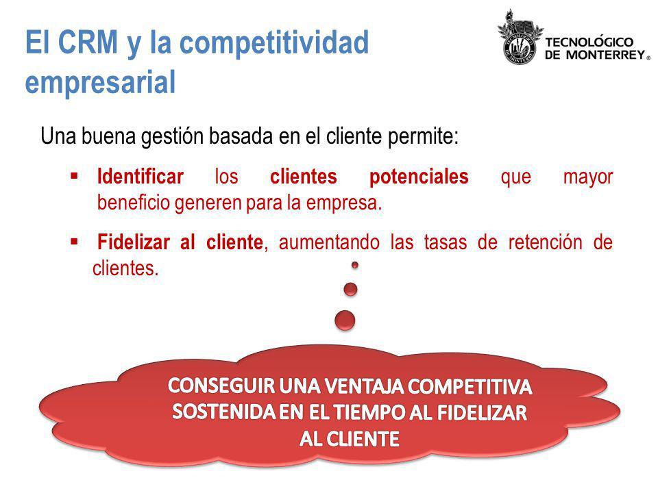 El CRM y la competitividad empresarial Una buena gestión basada en el cliente permite: Identificar los clientes potenciales que mayor beneficio genere