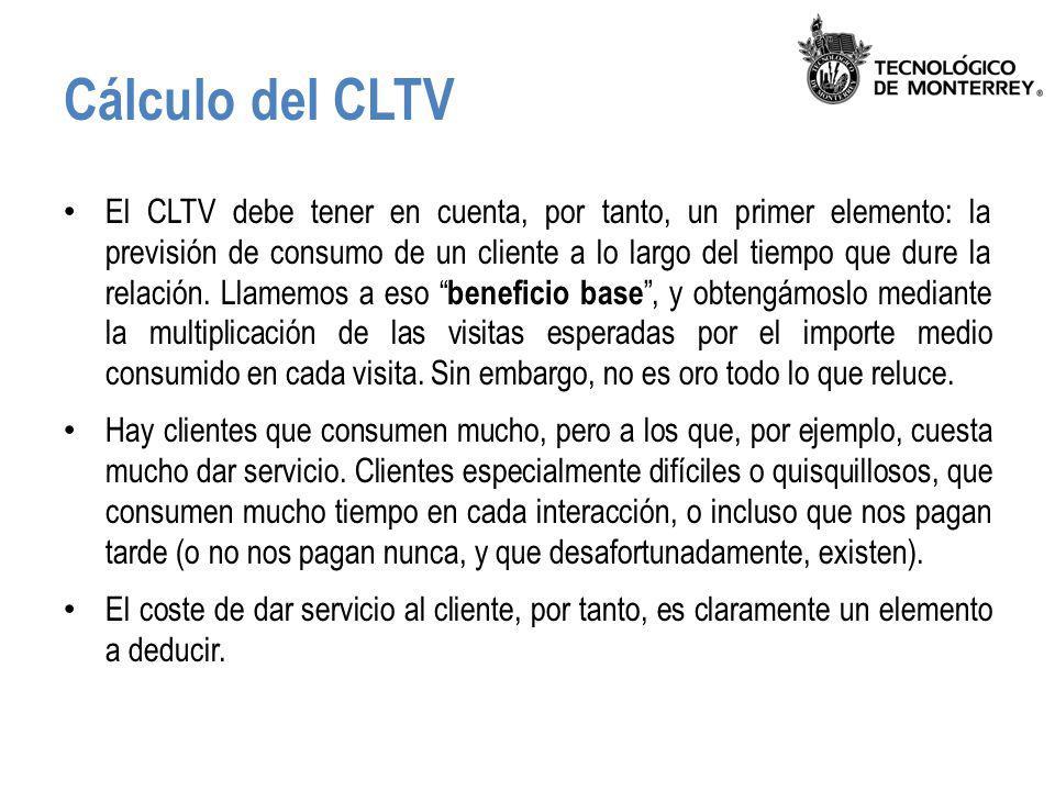 Cálculo del CLTV El CLTV debe tener en cuenta, por tanto, un primer elemento: la previsión de consumo de un cliente a lo largo del tiempo que dure la