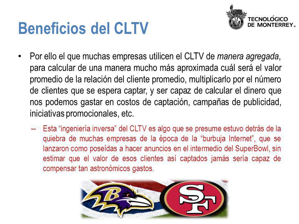 Beneficios del CLTV Por ello el que muchas empresas utilicen el CLTV de manera agregada, para calcular de una manera mucho más aproximada cuál será el