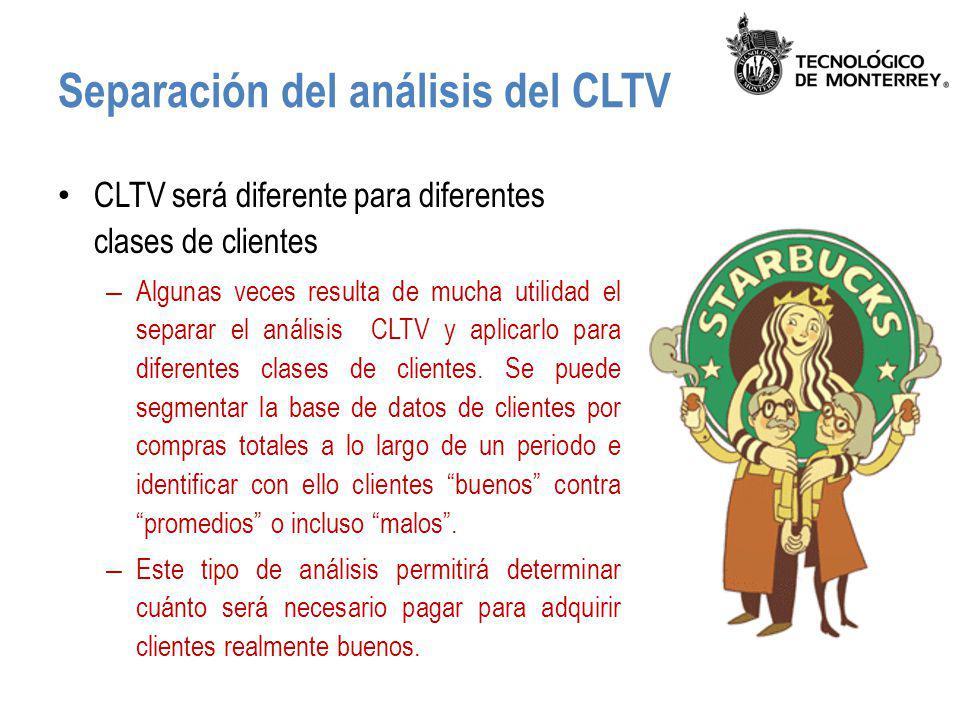 Separación del análisis del CLTV CLTV será diferente para diferentes clases de clientes – Algunas veces resulta de mucha utilidad el separar el anális