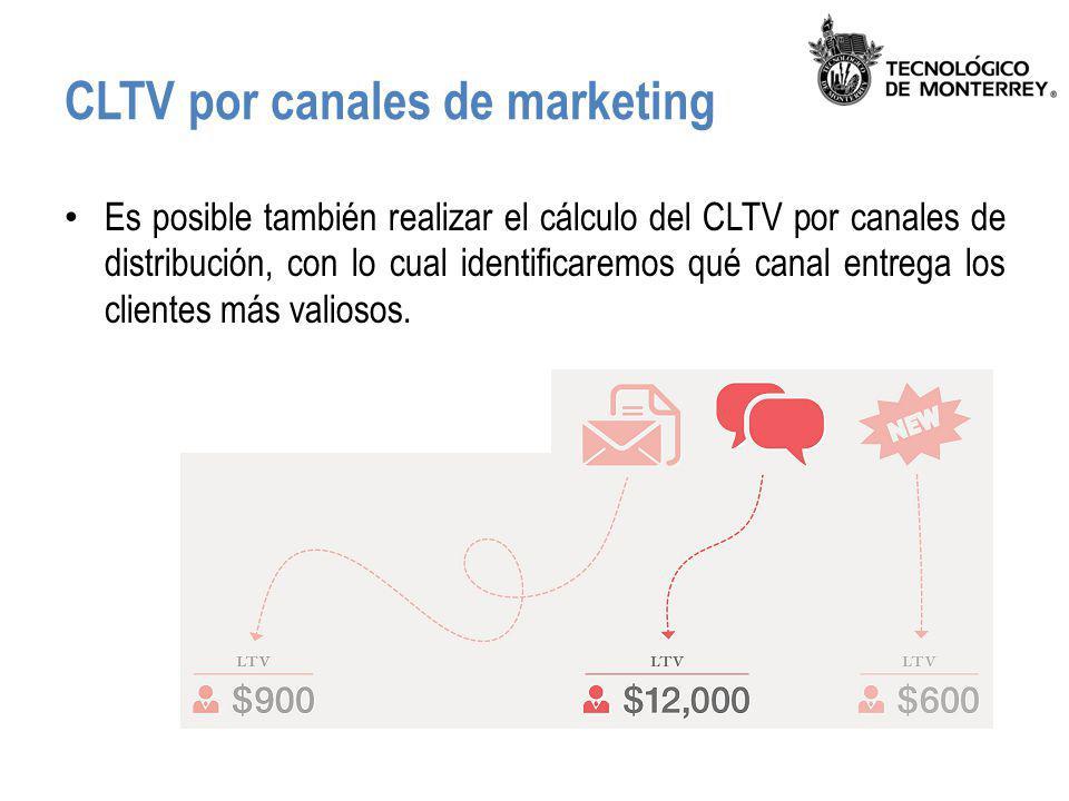CLTV por canales de marketing Es posible también realizar el cálculo del CLTV por canales de distribución, con lo cual identificaremos qué canal entre