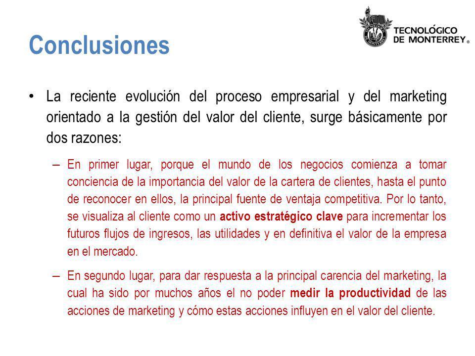 Conclusiones La reciente evolución del proceso empresarial y del marketing orientado a la gestión del valor del cliente, surge básicamente por dos raz