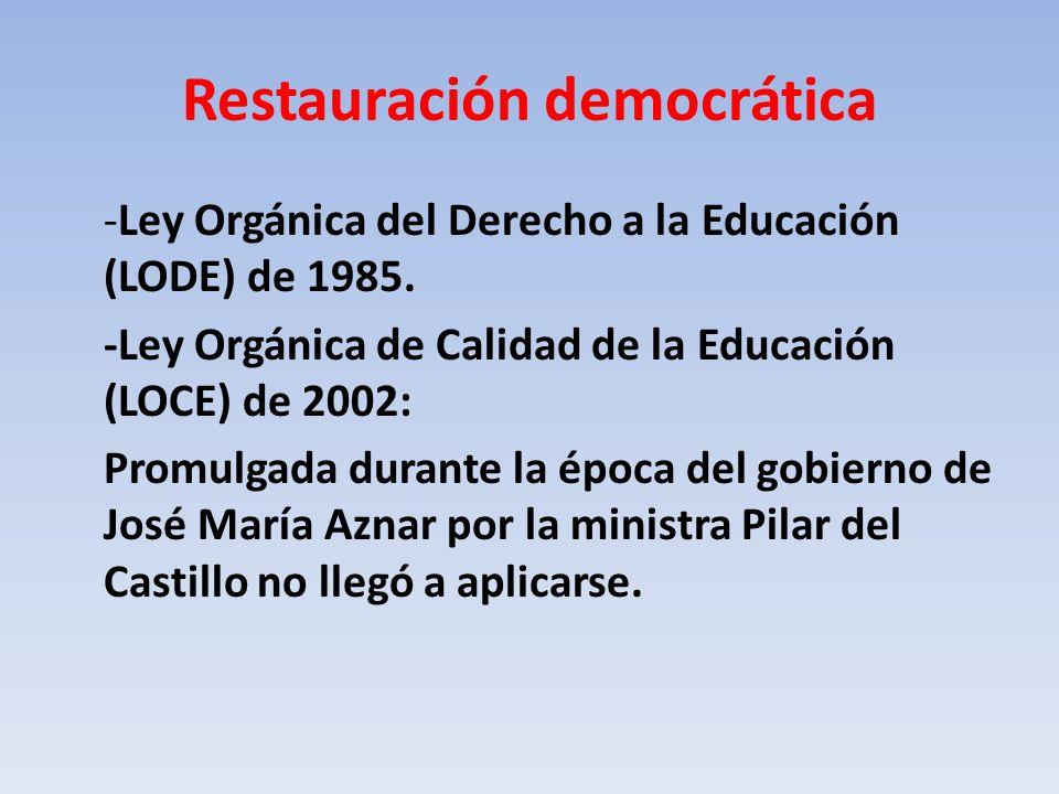 Restauración democrática -Ley Orgánica del Derecho a la Educación (LODE) de 1985.