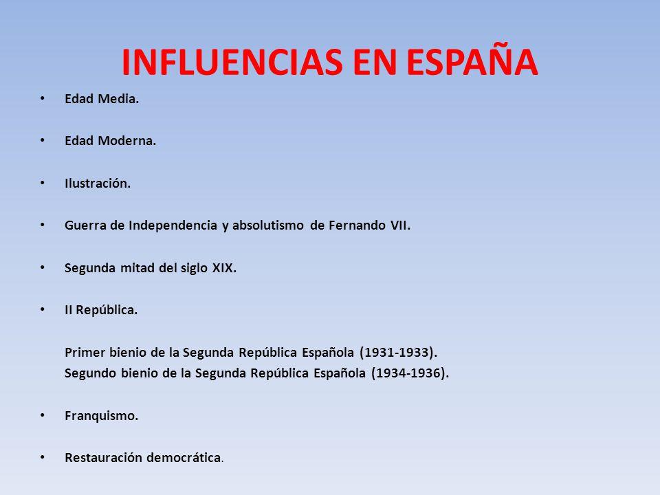 INFLUENCIAS EN ESPAÑA Edad Media.Edad Moderna. Ilustración.