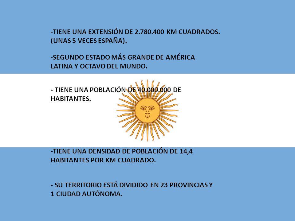 -TIENE UNA EXTENSIÓN DE 2.780.400 KM CUADRADOS.(UNAS 5 VECES ESPAÑA).