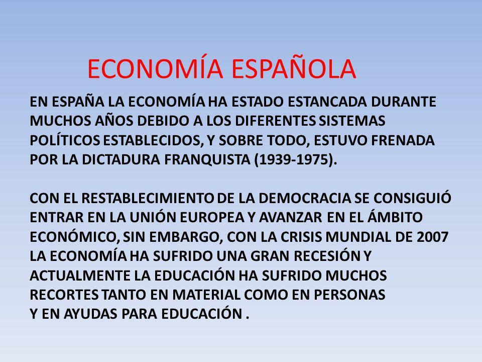 ECONOMÍA ESPAÑOLA EN ESPAÑA LA ECONOMÍA HA ESTADO ESTANCADA DURANTE MUCHOS AÑOS DEBIDO A LOS DIFERENTES SISTEMAS POLÍTICOS ESTABLECIDOS, Y SOBRE TODO, ESTUVO FRENADA POR LA DICTADURA FRANQUISTA (1939-1975).
