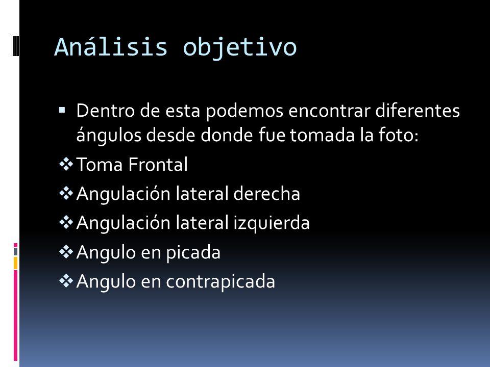 Análisis objetivo Dentro de esta podemos encontrar diferentes ángulos desde donde fue tomada la foto: Toma Frontal Angulación lateral derecha Angulaci