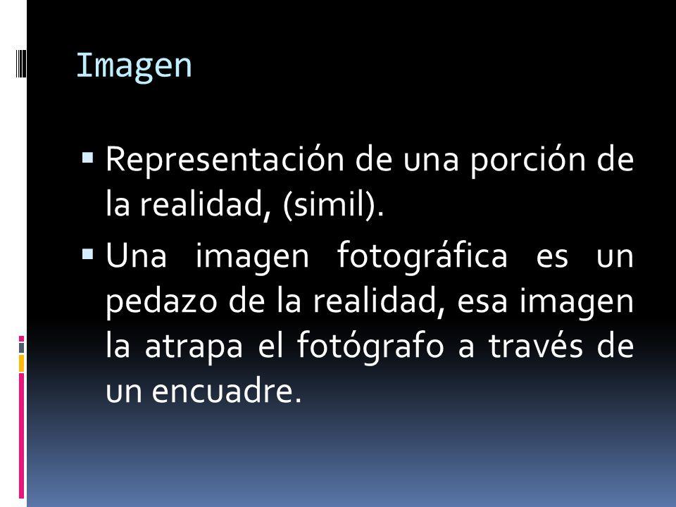 Imagen Representación de una porción de la realidad, (simil). Una imagen fotográfica es un pedazo de la realidad, esa imagen la atrapa el fotógrafo a