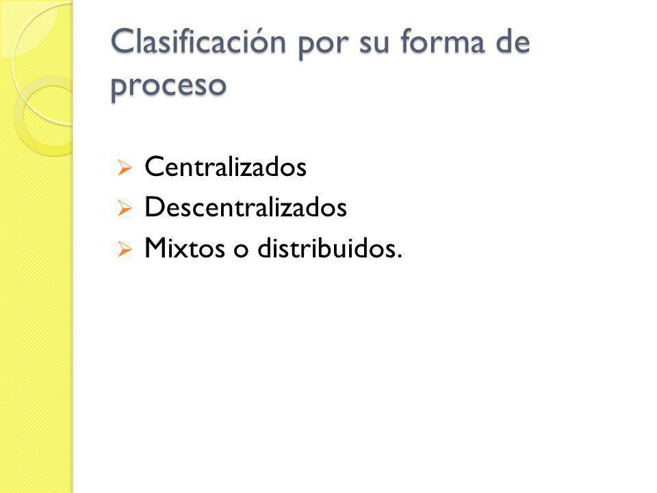 Clasificación por su forma de proceso Centralizados Descentralizados Mixtos o distribuidos.