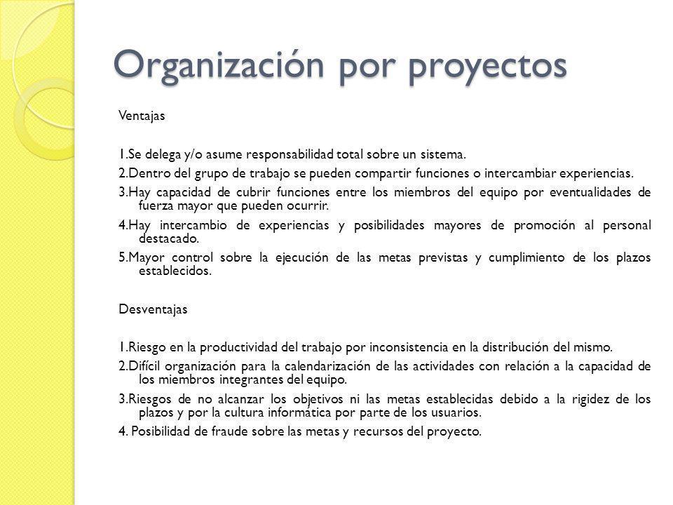 Organización por proyectos Ventajas 1.Se delega y/o asume responsabilidad total sobre un sistema. 2.Dentro del grupo de trabajo se pueden compartir fu