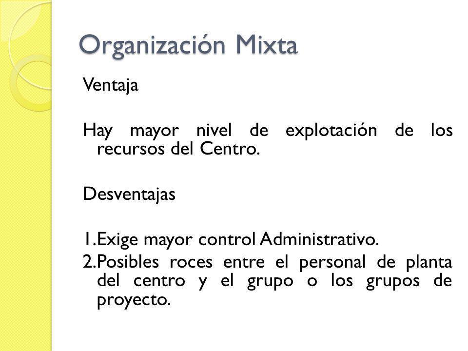 Organización Mixta Ventaja Hay mayor nivel de explotación de los recursos del Centro. Desventajas 1.Exige mayor control Administrativo. 2.Posibles roc