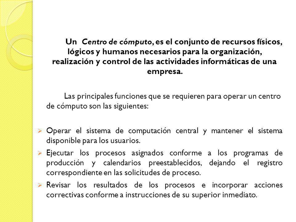 Un Centro de cómputo, es el conjunto de recursos físicos, lógicos y humanos necesarios para la organización, realización y control de las actividades