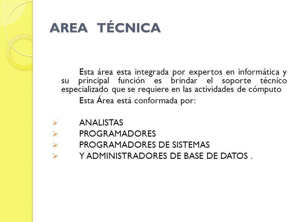 AREA TÉCNICA Esta área esta integrada por expertos en informática y su principal función es brindar el soporte técnico especializado que se requiere e
