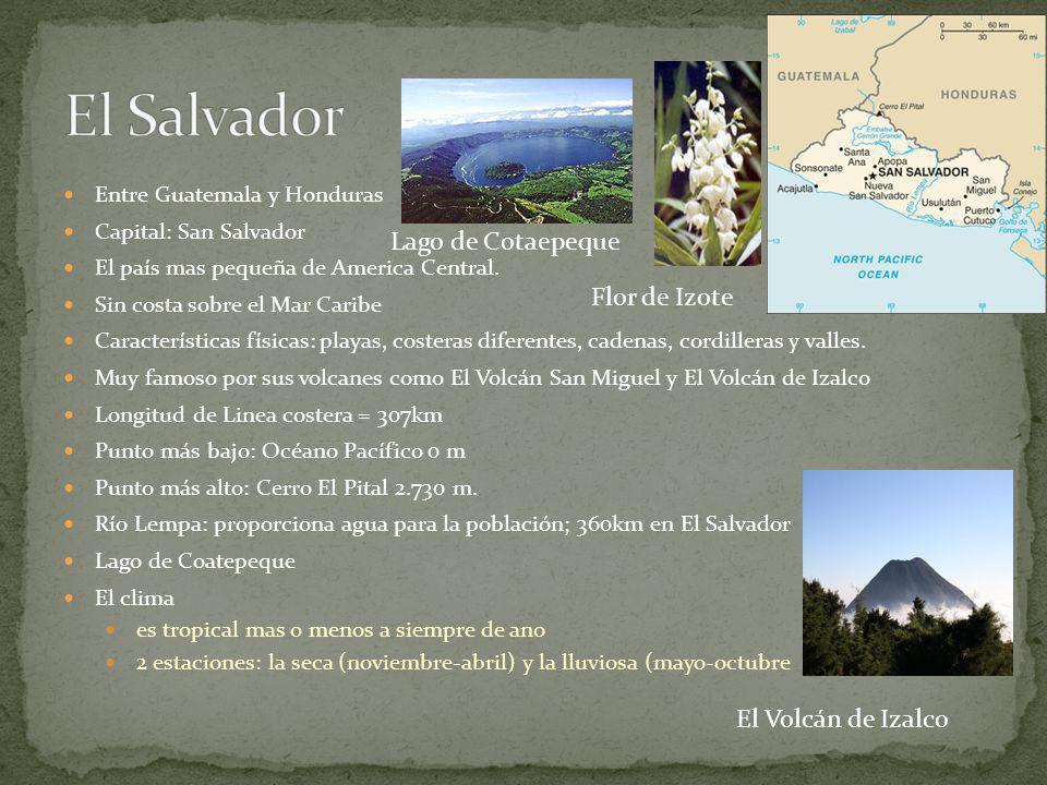 El segundo país más grande en América Central. El clima: subtropical en las tierras bajas y templado en las montañas. Punto más bajo: El Mar Caribe =