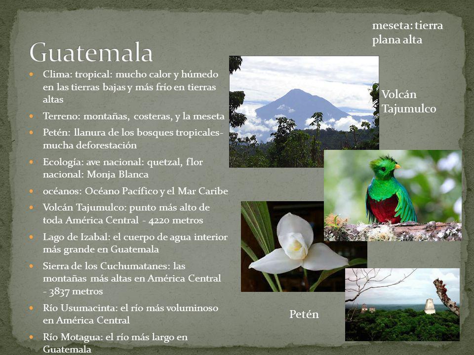 Conecta América del Norte con América de Sur Capital: Panamá Más pequeño de Carolina del Sur Características físicas El interior: cadenas montañas Las