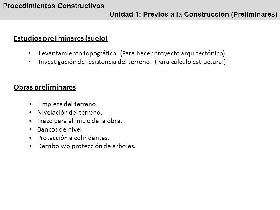 Procedimientos Constructivos Unidad 1: Previos a la Construcción (Preliminares) Estudios preliminares (suelo) Levantamiento topográfico. (Para hacer p