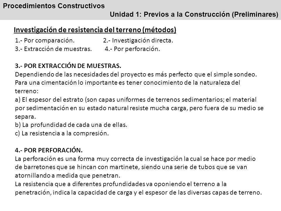 Procedimientos Constructivos Unidad 1: Previos a la Construcción (Preliminares) Investigación de resistencia del terreno (métodos) 1.- Por comparación