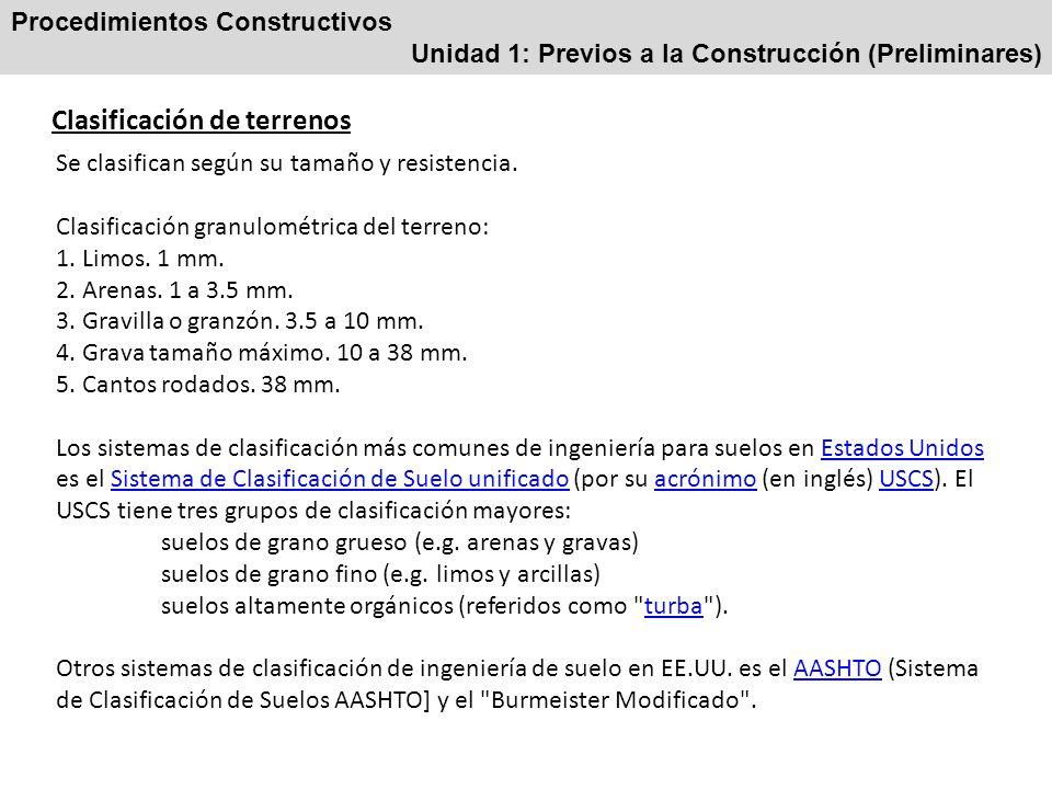 Procedimientos Constructivos Unidad 1: Previos a la Construcción (Preliminares) Clasificación de terrenos Se clasifican según su tamaño y resistencia.