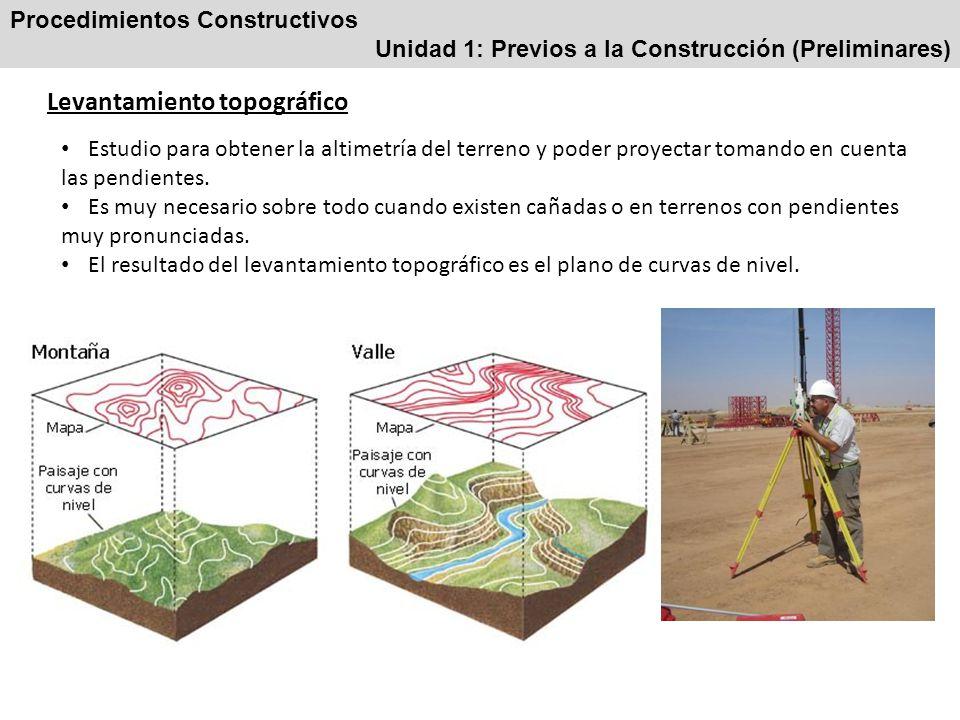 Procedimientos Constructivos Unidad 1: Previos a la Construcción (Preliminares) Estudio de mecánica de suelos El terreno no debe estar adulterado o modificado por factores externos.