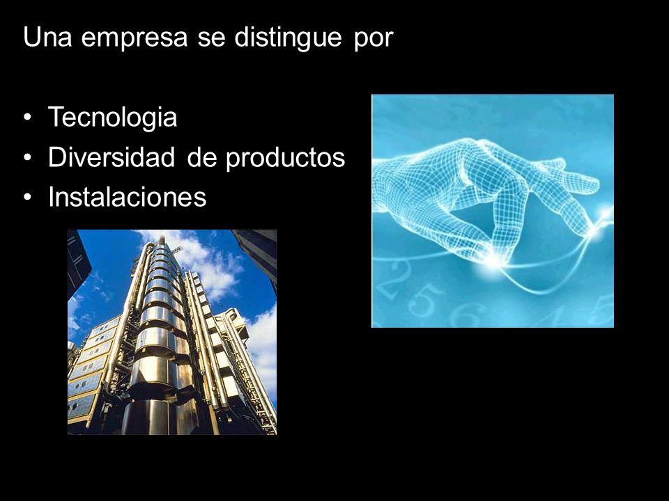 Una empresa se distingue por Tecnologia Diversidad de productos Instalaciones