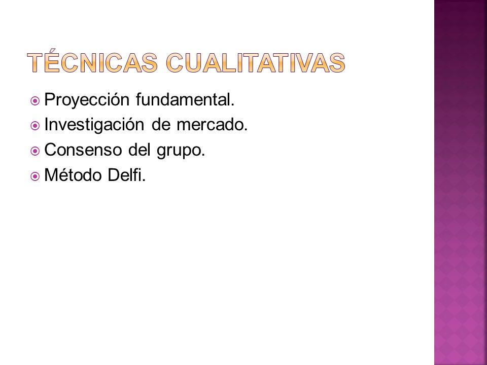 Proyección fundamental. Investigación de mercado. Consenso del grupo. Método Delfi.