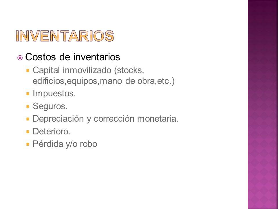 Costos de inventarios Capital inmovilizado (stocks, edificios,equipos,mano de obra,etc.) Impuestos. Seguros. Depreciación y corrección monetaria. Dete