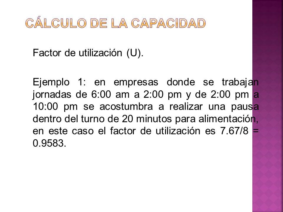 Factor de utilización (U). Ejemplo 1: en empresas donde se trabajan jornadas de 6:00 am a 2:00 pm y de 2:00 pm a 10:00 pm se acostumbra a realizar una