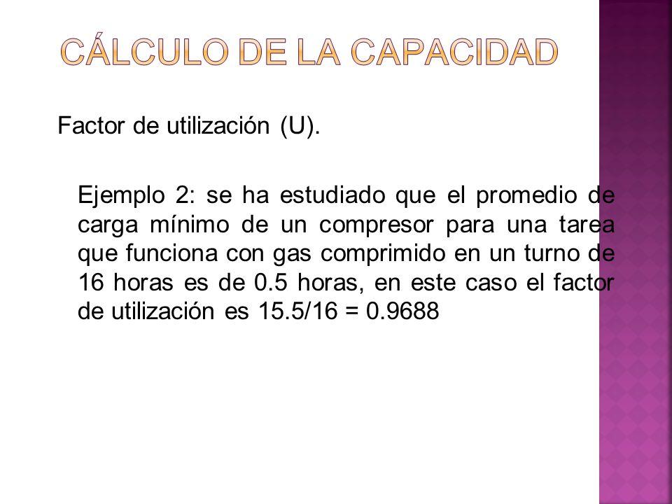 Factor de utilización (U). Ejemplo 2: se ha estudiado que el promedio de carga mínimo de un compresor para una tarea que funciona con gas comprimido e