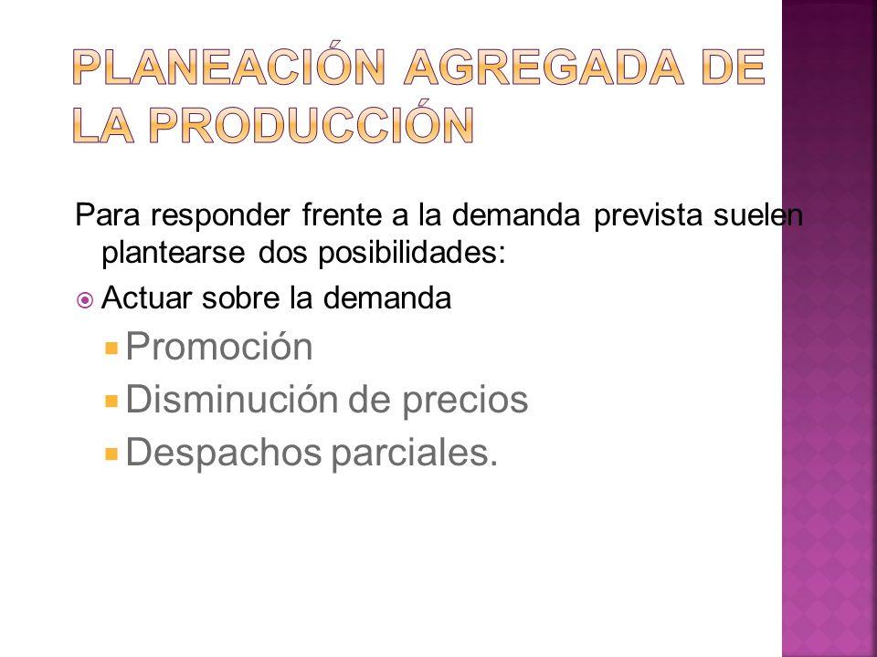 Para responder frente a la demanda prevista suelen plantearse dos posibilidades: Actuar sobre la demanda Promoción Disminución de precios Despachos pa
