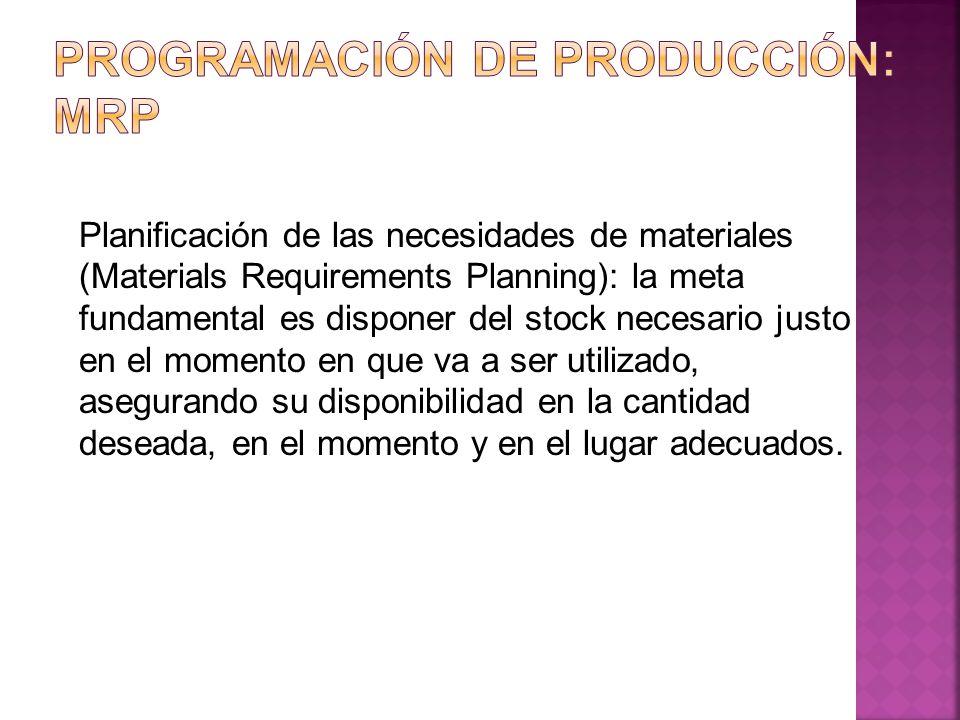 Planificación de las necesidades de materiales (Materials Requirements Planning): la meta fundamental es disponer del stock necesario justo en el mome