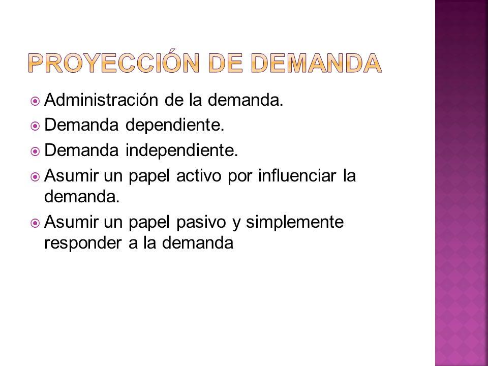 Administración de la demanda. Demanda dependiente. Demanda independiente. Asumir un papel activo por influenciar la demanda. Asumir un papel pasivo y