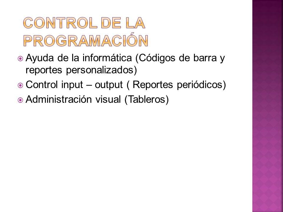 Ayuda de la informática (Códigos de barra y reportes personalizados) Control input – output ( Reportes periódicos) Administración visual (Tableros)