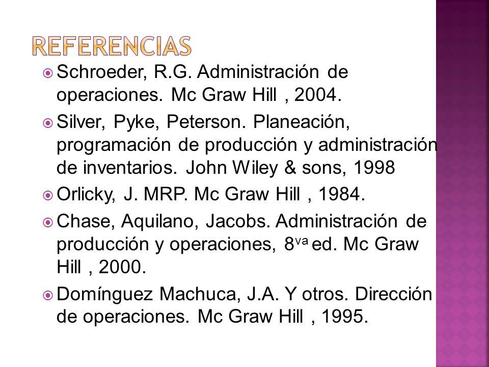 Schroeder, R.G. Administración de operaciones. Mc Graw Hill, 2004. Silver, Pyke, Peterson. Planeación, programación de producción y administración de