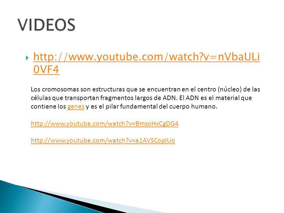 http://www.youtube.com/watch?v=nVbaULi 0VF4 http://www.youtube.com/watch?v=nVbaULi 0VF4 Los cromosomas son estructuras que se encuentran en el centro (núcleo) de las células que transportan fragmentos largos de ADN.