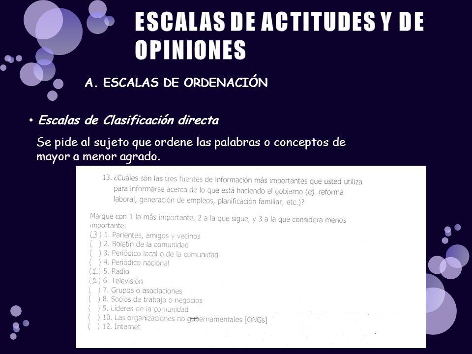 Escalas de Clasificación directa A. ESCALAS DE ORDENACIÓN Se pide al sujeto que ordene las palabras o conceptos de mayor a menor agrado.