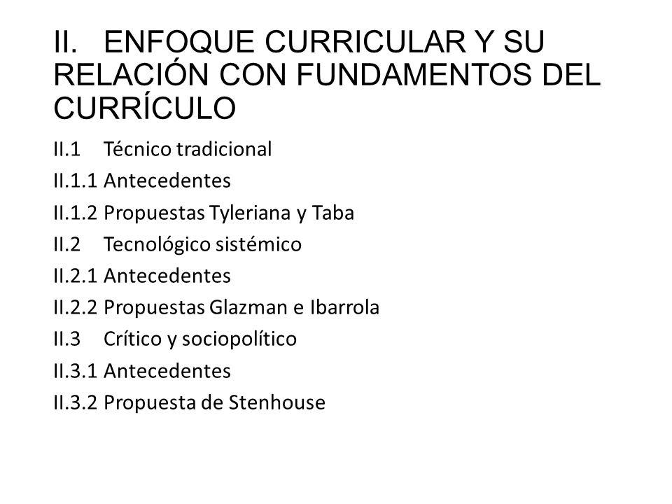 II.ENFOQUE CURRICULAR Y SU RELACIÓN CON FUNDAMENTOS DEL CURRÍCULO II.1Técnico tradicional II.1.1Antecedentes II.1.2Propuestas Tyleriana y Taba II.2Tec