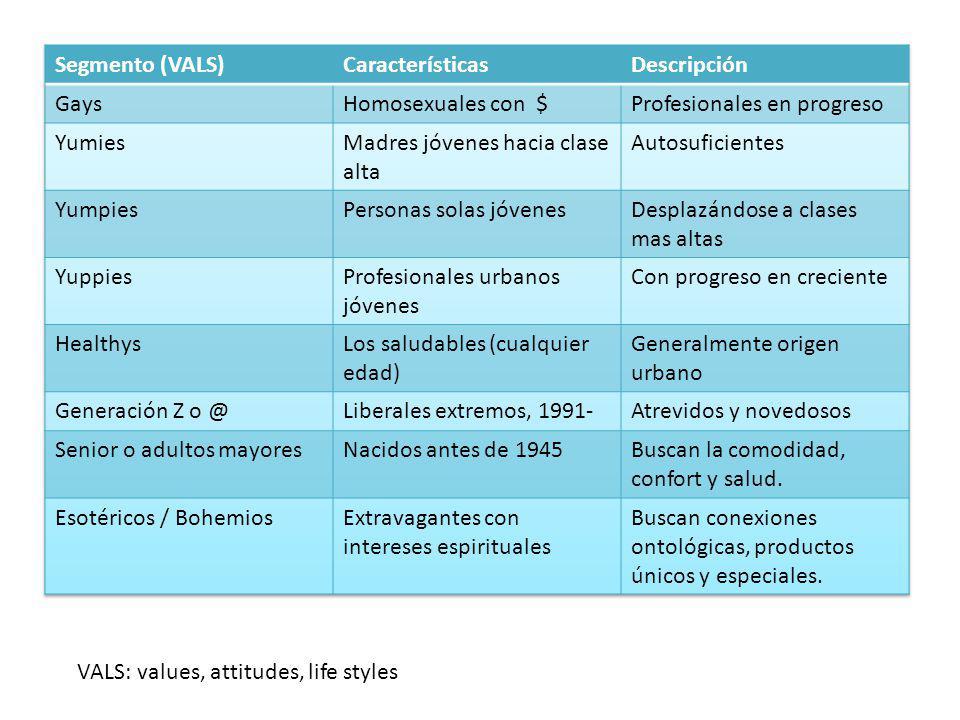 VALS: values, attitudes, life styles