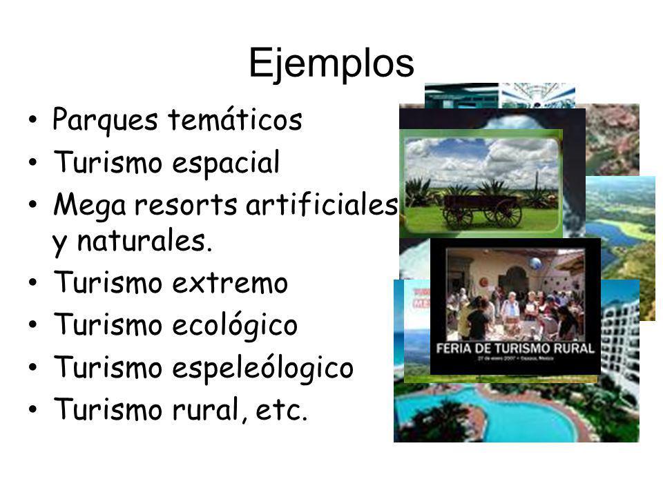 Ejemplos Parques temáticos Turismo espacial Mega resorts artificiales y naturales.