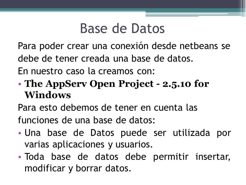 Base de Datos Para poder crear una conexión desde netbeans se debe de tener creada una base de datos. En nuestro caso la creamos con: The AppServ Open
