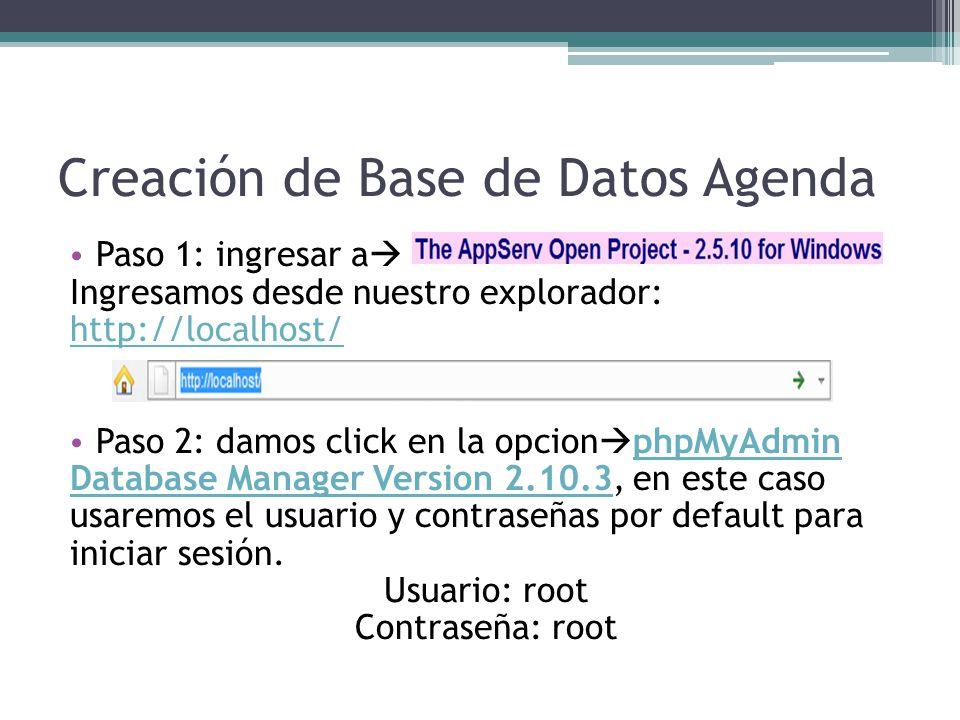 Creación de Base de Datos Agenda Paso 1: ingresar a Ingresamos desde nuestro explorador: http://localhost/ Paso 2: damos click en la opcion phpMyAdmin