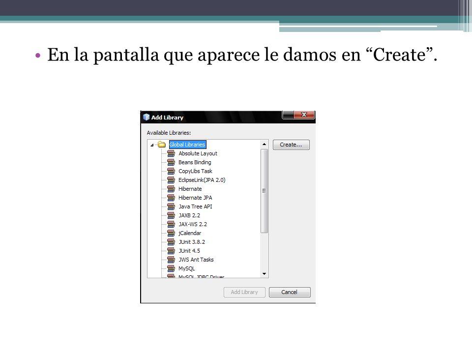 En la pantalla que aparece le damos en Create.