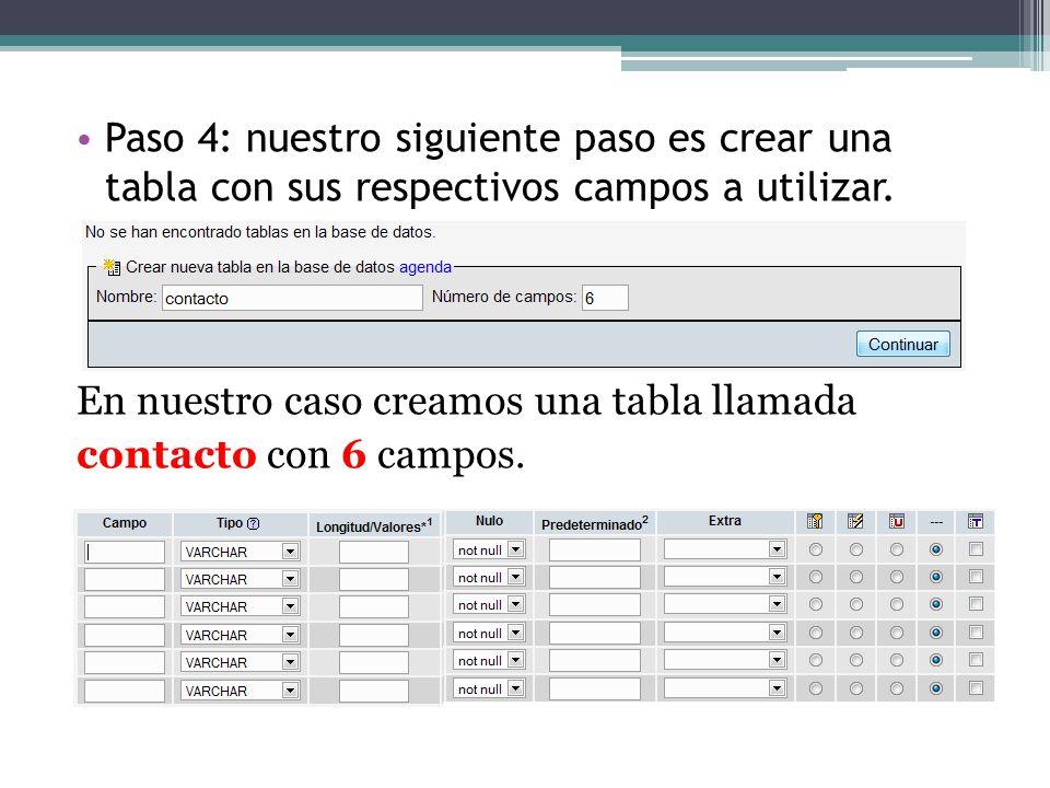 Paso 4: nuestro siguiente paso es crear una tabla con sus respectivos campos a utilizar. En nuestro caso creamos una tabla llamada contacto con 6 camp