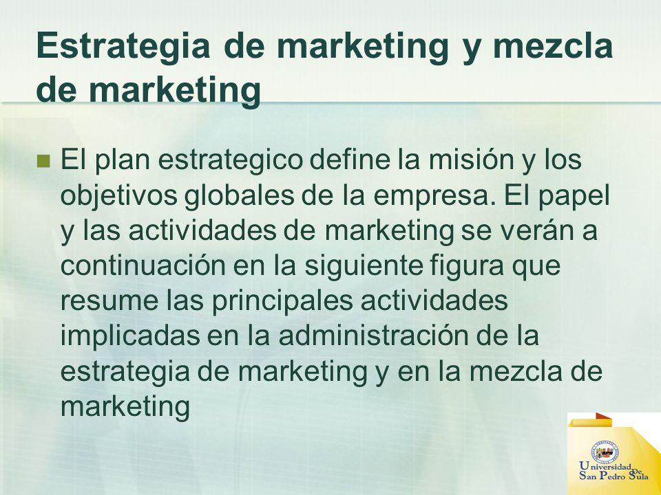 Estrategia de marketing y mezcla de marketing El plan estrategico define la misión y los objetivos globales de la empresa. El papel y las actividades