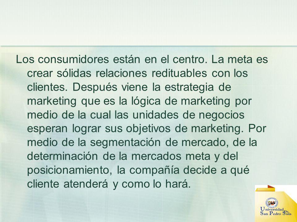 Los consumidores están en el centro. La meta es crear sólidas relaciones redituables con los clientes. Después viene la estrategia de marketing que es
