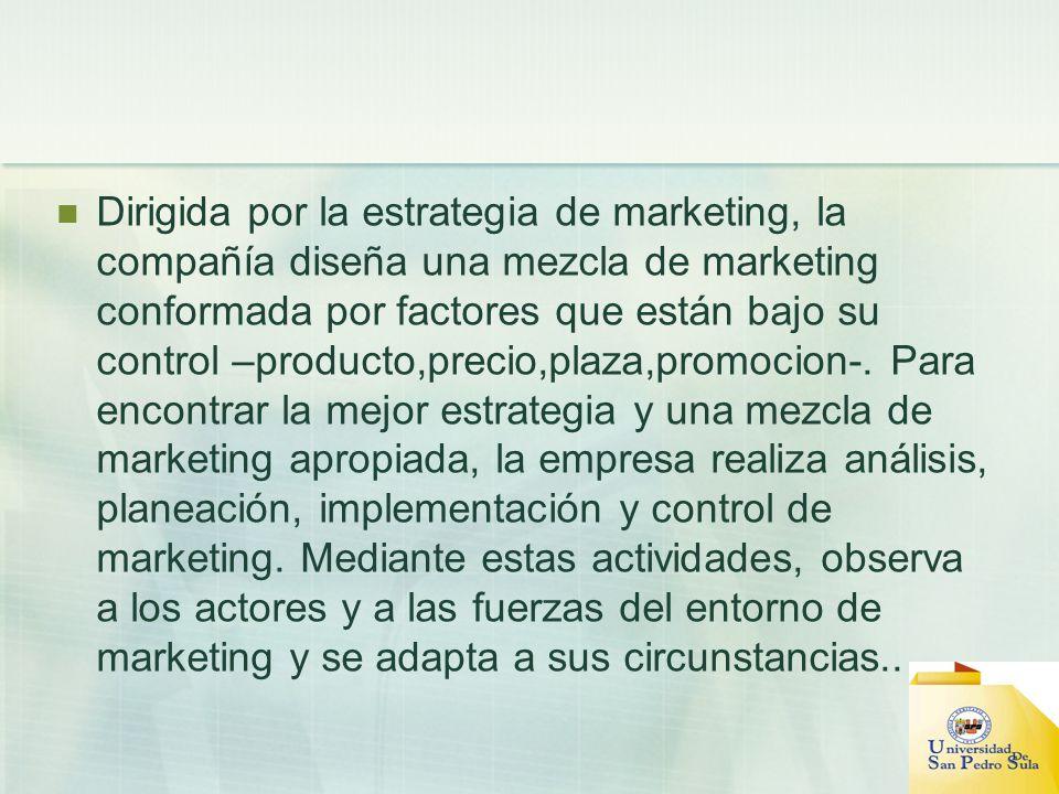 Dirigida por la estrategia de marketing, la compañía diseña una mezcla de marketing conformada por factores que están bajo su control –producto,precio
